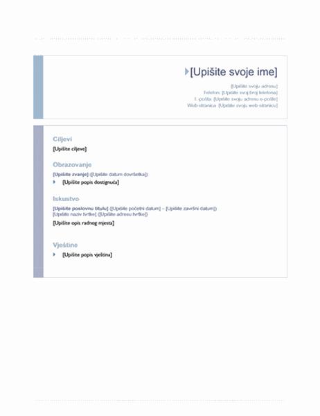 Životopis (ishodišni dizajn)