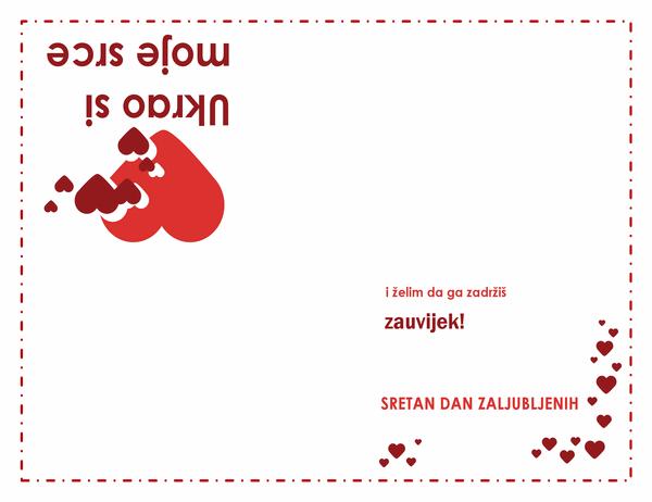 Čestitka za Valentinovo (dizajn sa srcima, presavija se dvaput)