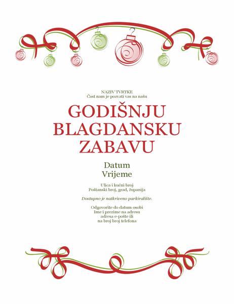 Pozivnica za blagdansku zabavu s ukrasima i crvenom vrpcom (službeni dizajn)
