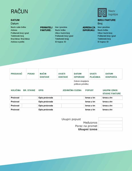 Izlazna faktura (dizajn sa zelenim prijelazom)