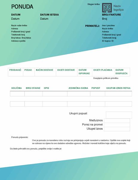 Prodajna ponuda (dizajn sa zelenim prijelazom)