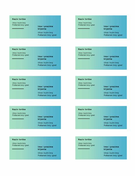 Otpremnice (dizajn sa zelenim prijelazom, 10 otpremnica po stranici, funkcionira uz Avery 5163)