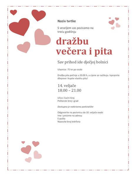 Pozivnica na dražbu pita za Valentinovo