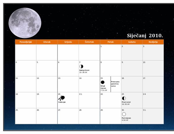 Lunarni kalendar za 2010., univerzalno vrijeme
