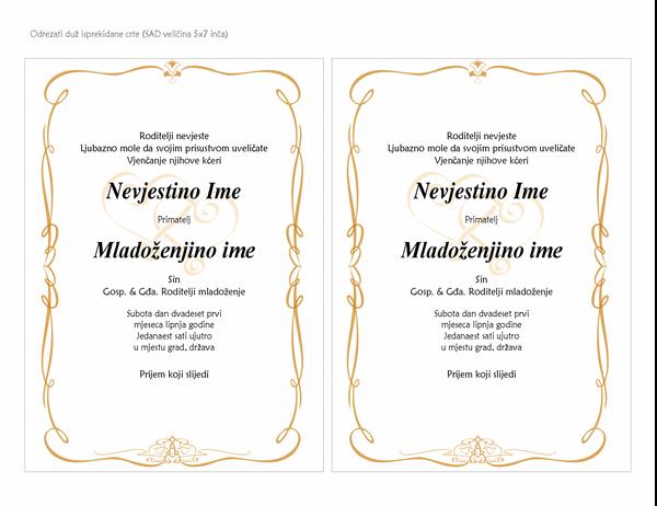 Pozivnice za vjenčanje (dizajn s klizačem u obliku srca, veličina A7, 2 po stranici)