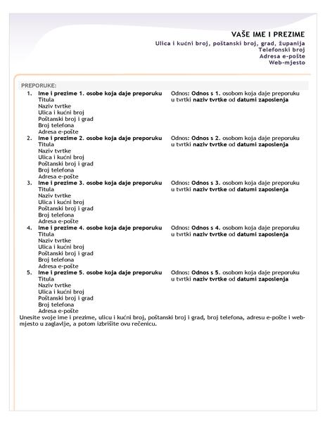 Popis preporuka za životopis za početničko radno mjesto