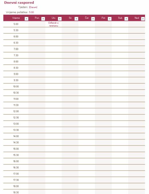 Dnevni raspored