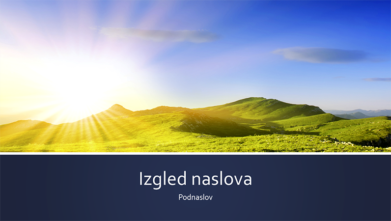 Prezentacija prirode s plavom trakom i fotografijom izlaska sunca na planini (široki zaslon)