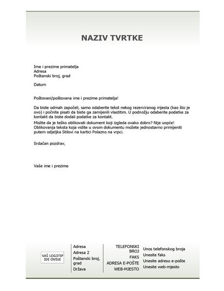 Zaglavlje poslovnog pisma (jednostavni dizajn)
