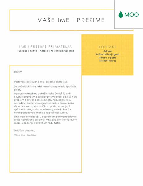 Jasno i jednostavno popratno pismo, dizajn MOO