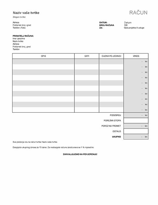 Račun za uslugu s izračunima poreza