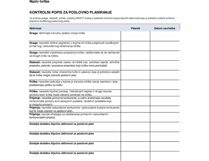 Kontrolni popis za poslovni plan