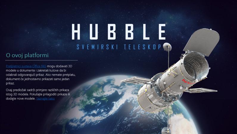 3D prezentacija programa PowerPoint (model teleskopa Hubble)