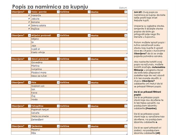 Popis za kupovinu s prostorom za robne marke