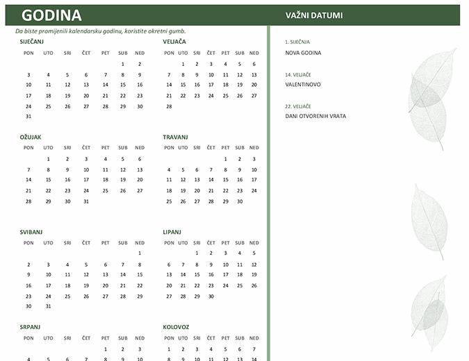 Poslovni kalendar (bilo koja godina, od pon. do ned.)