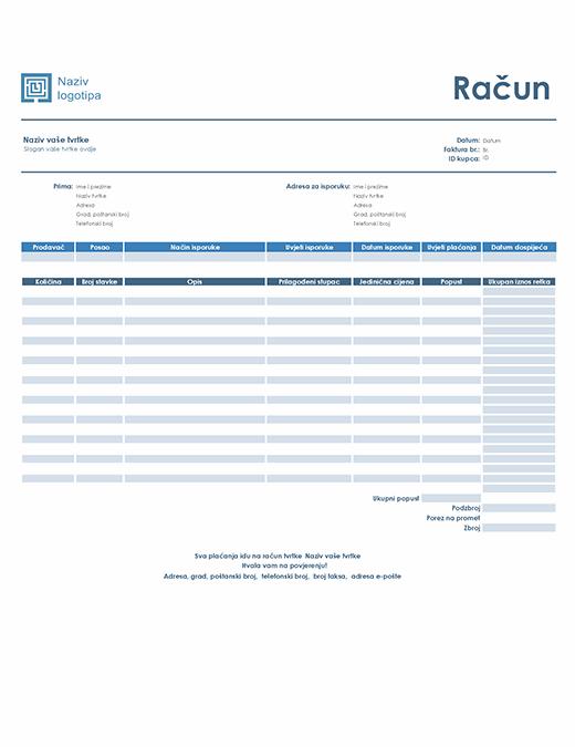 Prodajni račun (jednostavan plavi dizajn)