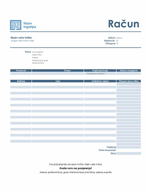 Račun za uslugu (jednostavan plavi dizajn)