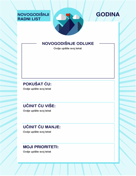 Radni list novogodišnjih odluka
