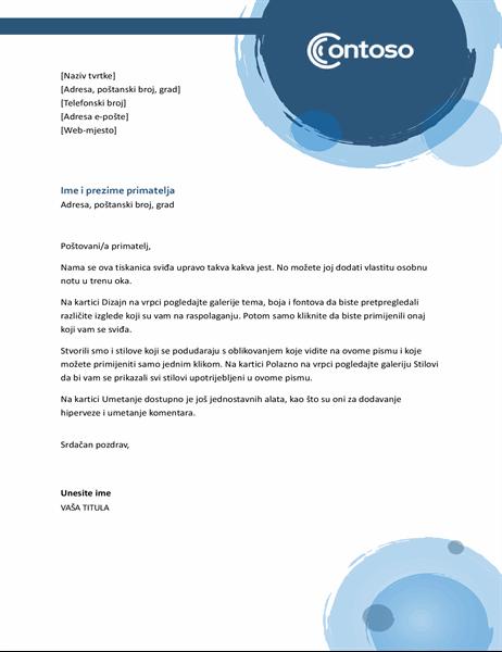 Zaglavlje pisma (plave kugle)