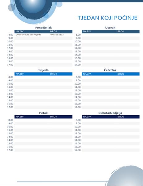 Kalendar dnevnih obveza s motivom plavih kugli