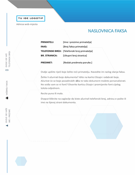Naslovnica faksa (dizajn sa šesterokutom)