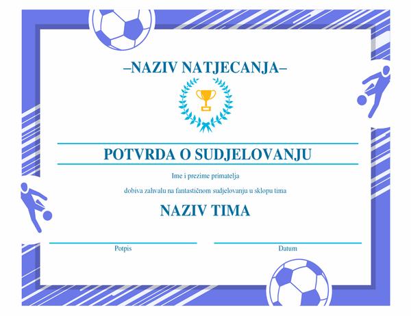 Nagradni certifikat za četiri sporta