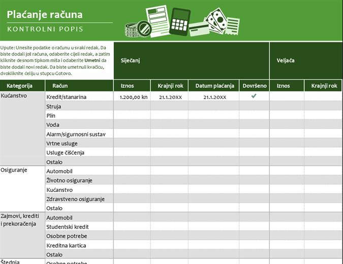 Kontrolni popis za plaćanje računa