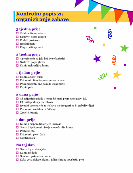 Kontrolni popis za organiziranje zabave
