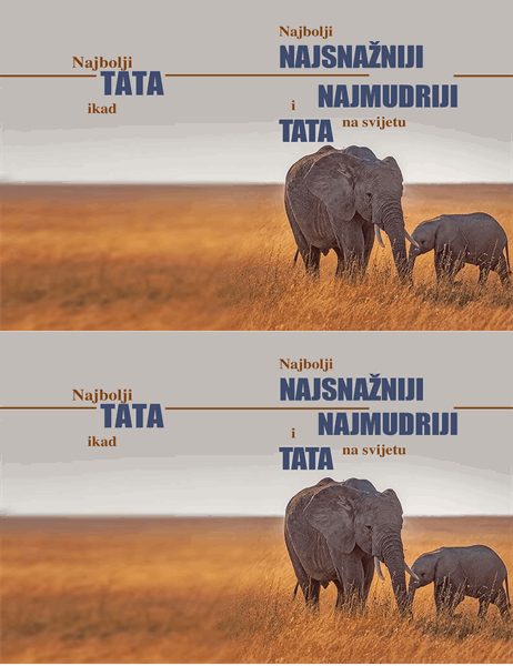 Čestitka za Očev dan sa mudrim slonom