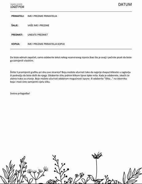 Dopis s cvjetnim dizajnom