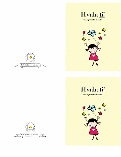 Zahvalnica s djevojčicom