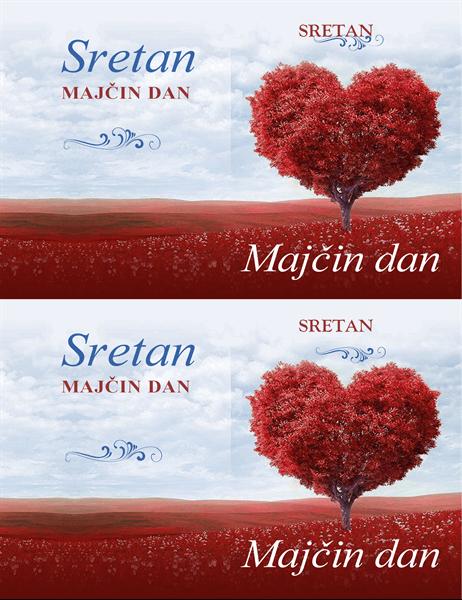 Čestitka za Majčin dan - stablo u obliku srca