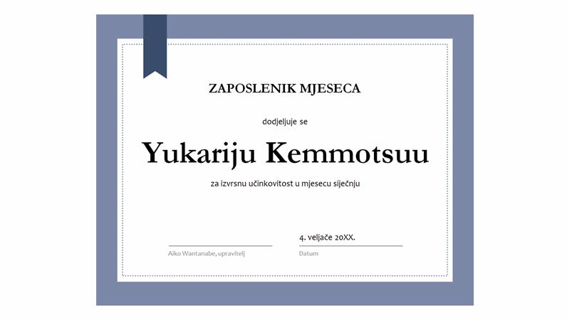 Certifikat za zaposlenika mjeseca