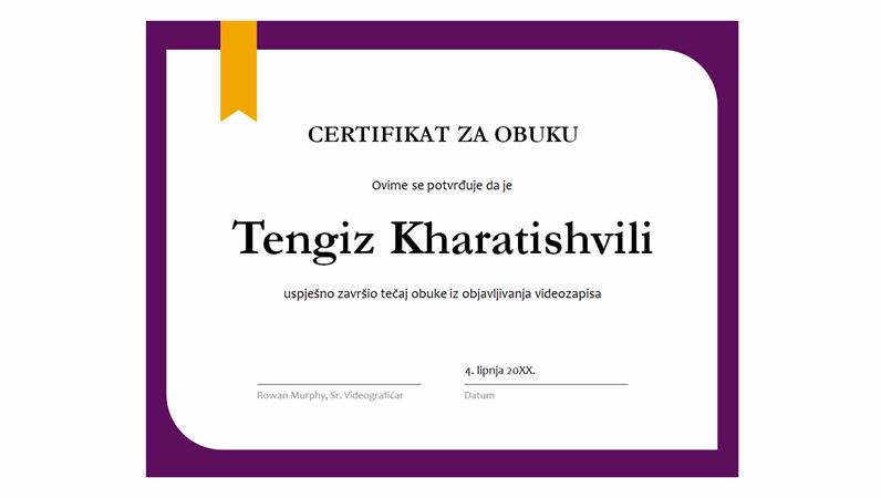 Certifikat za obuku