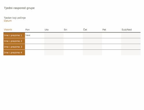 Tjedni raspored grupe