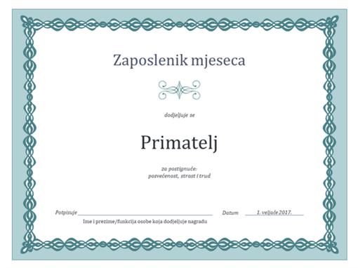 Certifikat za zaposlenika mjeseca (dizajn s plavim lancem)