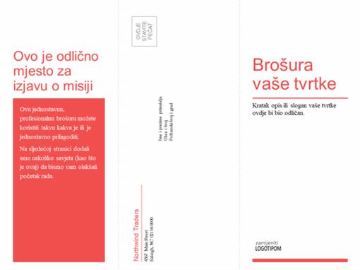 Trostruka poslovna, medicinska brošura (crveno-bijeli dizajn)