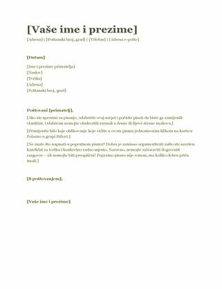 Popratno pismo uz životopis (zeleno)