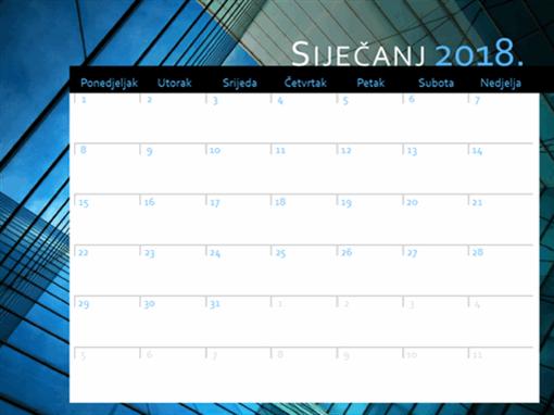 Kalendar za 2018. (od pon. do ned.)
