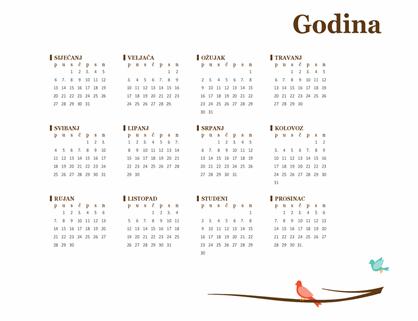 Godišnji kalendar s pticama (pon. – ned.)