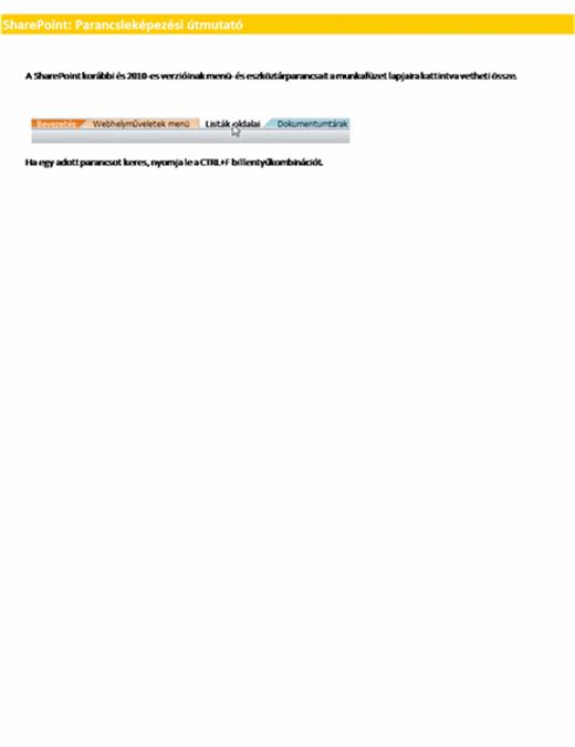 A SharePoint Server menüszalag elemeinek helyét ismertető munkafüzet