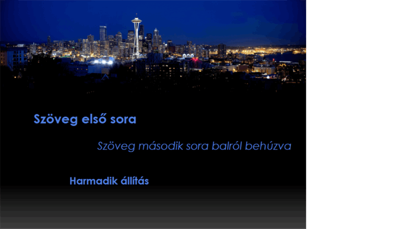 Mozgó és színváltó animált feliratok egy Seattle-i látkép előtt