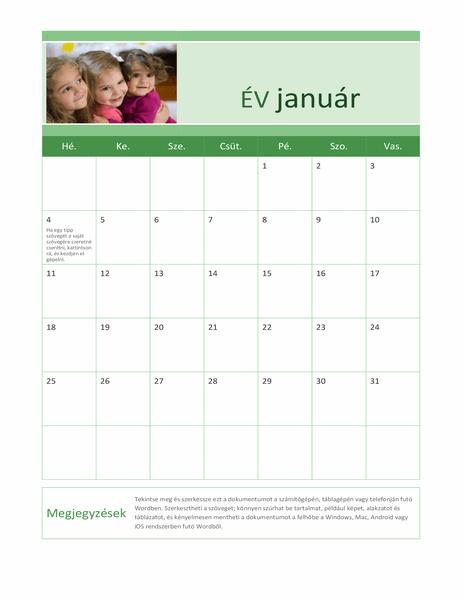 Családi fényképes naptár (bármely év)