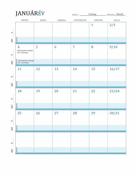 Óravázlat naptár