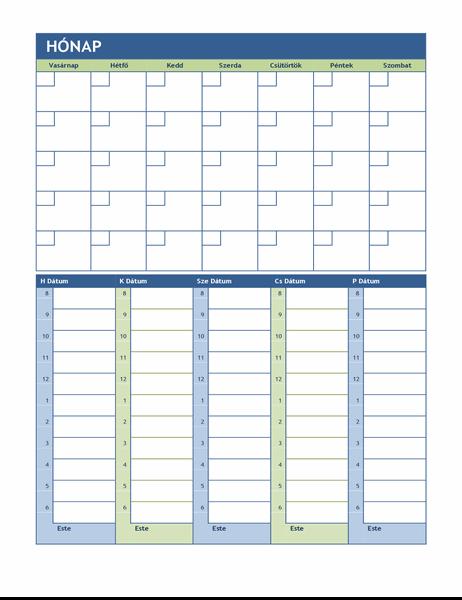 Havi és heti tervezőnaptár