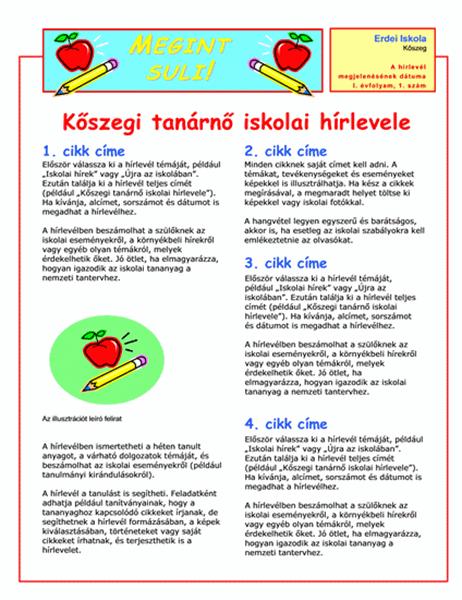 Iskolai hírlevél (2 oszlop, 2 oldal)
