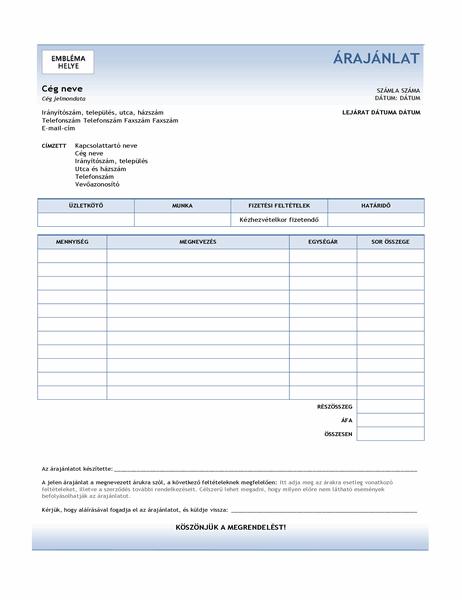 Szolgáltatási árajánlat (kék színátmenetes grafika)