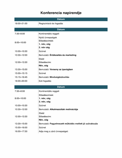 Konferenciaesemény napirendje
