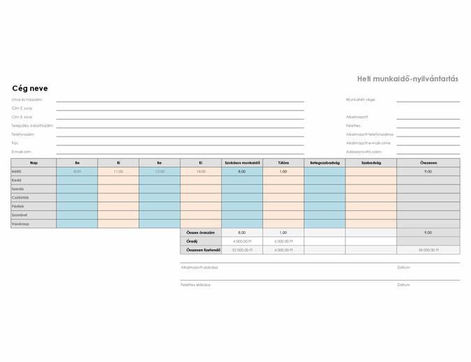 Heti munkaidő-nyilvántartás (22 x 28 cm, fekvő)