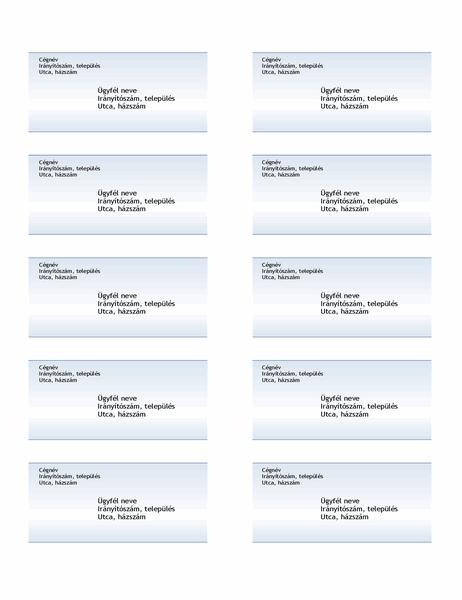 Szállítási címkék (kék színátmenetes grafika, oldalanként 10)
